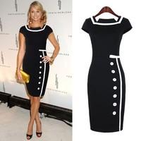 2014 New Fashion Vestido Bodycon Fashion Designer Retro Stitching Single-Breasted Pencil Bandage Dress Celebrity Dresses