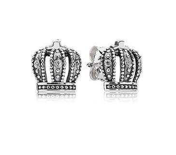 """Buy Two lot Get One lot Free"""" promotional event New European Silver Earring for PAN style Royal Crown Stud Earrings 20pairs/lot(China (Mainland))"""