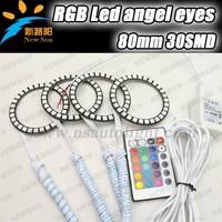 High quality rgb led ring 80mm, LED Angel Eyes Halo Ring Kit, rgb halo rings, 30SMD 5050 LED changing color angel eyes