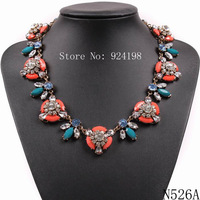 2015 new fashion design JC brand colorful resin gold chain pendant luxury chunky statement necklace crystal for women jewelry