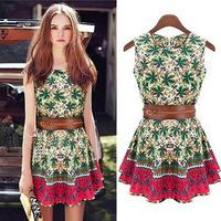 2014 New Fashion Women Cute Shorts Print Dress Vestidos de festa Cotton Lady Summer Dress With Belt Sleeveless Celebrity Dresses