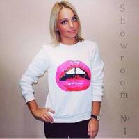Autumn Casual Pullover Sexy Lips Printed Sweatshirt Women Hoody Long Sleeve 3 Colors Black Hoodies Sport Thin Cotton