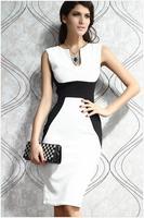 2014 Spring Summer New Ladies Fashion Clothing Sleeveless Slim Patchwork Printed Beyonce Bandage Dress Celebrity Dresses