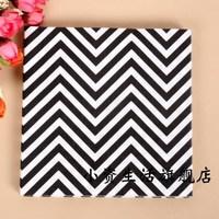 100pcs 33cm black chevron paper napkin tissue serviettes wedding party tableware tissue towels virgin wood pulp tissue napkins