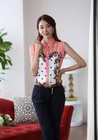 New Hot Sale Womens Clothing Fashion Slim Sleeveless Chiffon Shirt Printed Lapel Ladies Casual Blouse Female Camisas Femininas