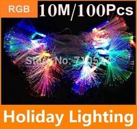 10M Multi Color Modeling String lights 100pcs Decoration Light for Christmas Party Wedding Optical fiber lights Free Shipping
