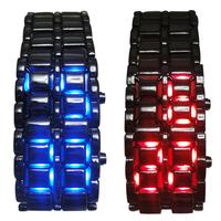 2014 New Fashion Men's Watch Lava Iron Samurai Metal LED Faceless Bracelet Watch Wristwatch Full Stainless Steel