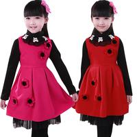 Winter thickened dress female children cashmere dress children baby princess dress Festival Dress