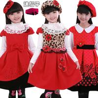 Girls  autumn and winter vest  thickened woolen velvet children princess  female baby dress Zi Qiu