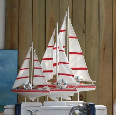 31.5cm American Style Sailing Ship model Mediterranean style Creative furnishing articles Wooden Boat Decoration Crafts(China (Mainland))