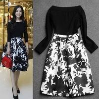 2014 autumn fashion fit and flare sexy slash neck dress elegant print kintted pacthwork knee-length dress black