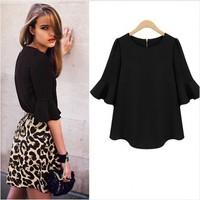 2014 new winter women's Sleeve Chiffon Sleeve loose chiffon shirt sleeve shirt bottoming shirt fashion lotus