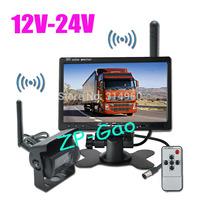 "Wireless 7"" LCD Monitor +  Car Bus Truck Rear View Kit 18 IR LED CCD Reversing Camera 12V-24V Free Shipping"