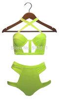 2015 Bandage High Waisted Bikini Women Hollow Out Swimsuit Cut Out swimwear Strappy Monokini Bathing Suit biquini brasileiro