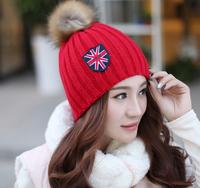 2014 New Arrival On November Winter Hats Skullies  Beanies   Union Flag Letter Printer Winter Hats For Women Hand-knit Wool Caps