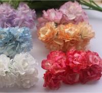 Promotion 3 cm head  Paper Flower Bouquet/wire stem/ Scrapbooking artificial rose flowers(72 pcs/lot)