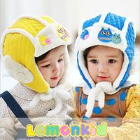 2014 New lemonkid winter Plus velvet warm Children Cap Thickened Small Q wings Knitted Kids Bomber hats 24061#