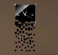 Free shipping black 51 squares home decoration DIY 3D mrror wall clocks modern design large digital watch wall sticker creative