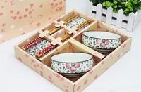 Shaped bowl set glaze color ceramic tableware dishes 8 piece set exquisite wankuai gift set