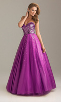 2014 New Fashionable Jewelry noble women dress to formal occasion evening dresses noble golden purple US 246810