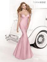 Sexy Vestido Longo Tarik Ediz Prom Dresses Fashion Mermaid High Neck Vestidos De Fieata Sleeved Bow Beaded Pink Satin prom Gown