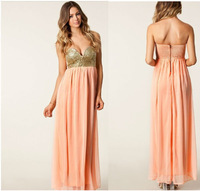2014 Free shiping two color NEW ARRVIAL PLEATED MAXI SEQUIN BUSTIER DRESS BNWT PEACH CORAL PINK