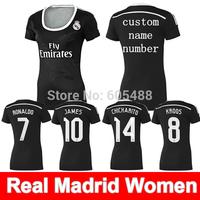 Top A+++ camiseta Real Madrid 2015 women 3rd away black champions league soccer jersey KROOS JAMES RONALDO ISCO BALE jerseys
