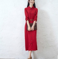 Vintage Long Blouse Style Long Dress Turn-down Collar Long Sleeve Red Color Art Maxi Dress For Female S-L