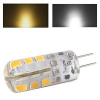 Home Application DC 12V G4 24 SMD 2835 3W Warm / Pure White LED Car Cabinet Light Bulb 200Lm