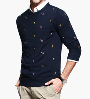New 2014 Mens Round Neck Pullover Sweater 100% Cotton Brand Man christmas Personality Embroidery Sweaters AZ-16854
