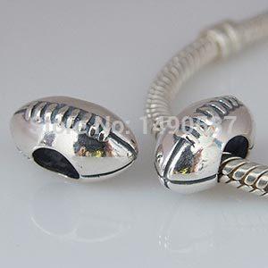 100 925 Sterling Silver Olympic Sports Charm Bead Rugby Amercian Football Fits Pandora DIY European Bracelets