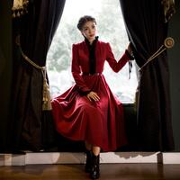 High Quality 2014 New Women's Hepburn Vintage Original Elegant Fashion Royal Style Long Dress Lace Patchwork Red One-piece Dress