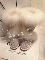 Handmade Women Top Cow Leather Snow Boots Shiny Rhinestone Winter Flats Warm Fur Botas Beige Motorcycle Boots for Women