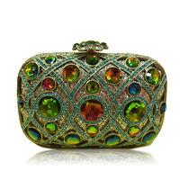 Colorful DOT 2014 2015 Valentine Designer Clutch Famous Brand Women Bolsa Clutch Custom Rhinestone Female Evening Clutches Bags