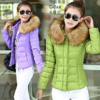 2014 Winter Women Short Parkas Fashion Slim Down Jackets Plus Size XXXL Long Sleeve Hooded Fur Collar Thicken Coats Outerwear
