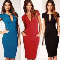 Women Newest Vintage Deep V-Neck Zipper Short Sleeves Summer Dress Knee-Length Bodycon Dress XS-XXL