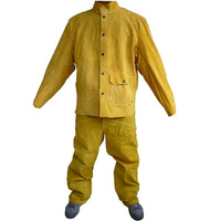 Welding safety clothing set cow leather jacket pants free size safety garment high quality for welders large size 110301
