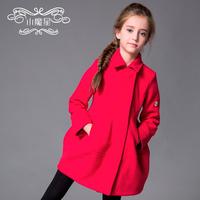 New 2014 children's clothing  autumn and winter female medium-large child wool coat medium-long child long-sleeve outerwear