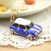 3Colors Great Gift for girl women full Rhinestone Mini Car Key chain metal Keychain Alloy Keyring,Gold Plated ,Handbag Charms