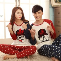 [little dara] Free shipping 2014 women and men long sleeve sleep & loungewear  pajama sets nightwear home clothes