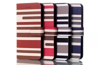 """New arrival horizontal stripe wallet design Flip leather case for IPhone 6 4.7"""" / 6 plus 5.5"""" cross stipe case free shipping"""
