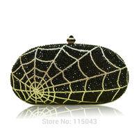 Factory Direct 2014 European Black Spider Designer Clutch Famous Brand Women Clutch Purses and Handbags Valentine Phone Clutches
