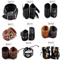 Fashion Women/Men Braided Leather Bracelet Punk Hemp Braid Surfer Rivet Wide Buckle Leather Bracelet Wristband Cuff Bangle Gift