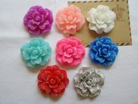Free Shipping! Min. order is $10 (mix order), Shining Big Flower, Resin Flat Back Cabochon for Phone Deco, DIY (47mm)