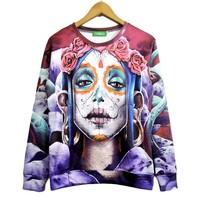 2014 New high quality fashion Women/Men Mexican skull rose visual girl Print 3D Sweatshirts Hoodies Galaxy sweaters Tops