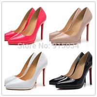 Free shipping new style 12cm high heel shoes low platform women pumps patent leather high heels stiletto heels sapatos femininos