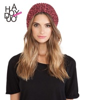 women winter cap casual knitted cap in contrast color for wholesale and free shipping haoduoyi