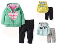 BA0300,5sets/lot Carter's baby set boys girls clothing sets infant full sleeve jacket+pant 2pcs children set kid suit Wholesale