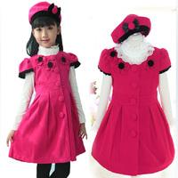 Children in winter 2014 new woolen vest dress outfit girl princess  send children baby dress cap