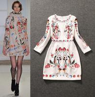 Best  Grade New Runway Fashion Dress Autumn Women Exquisite Print Party Dress Knee Length Slim Fitted Cotton Dress Best Gift